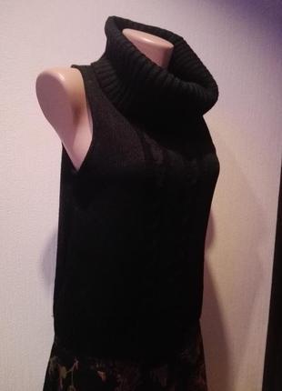 Отличная модная водолазка свитер джемпер с высоким воротом без рукавов