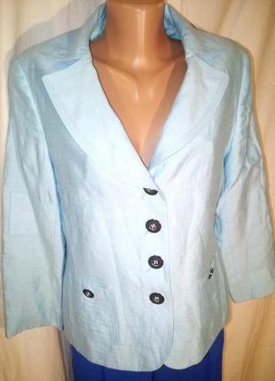 Бомбезный пиджак бирюзовый 50%льна льняной