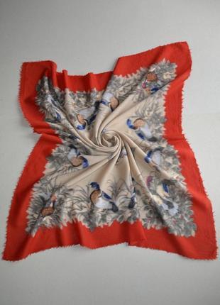 Большой шерстяной платок винтаж нюанс 95х92см 100% шерсть