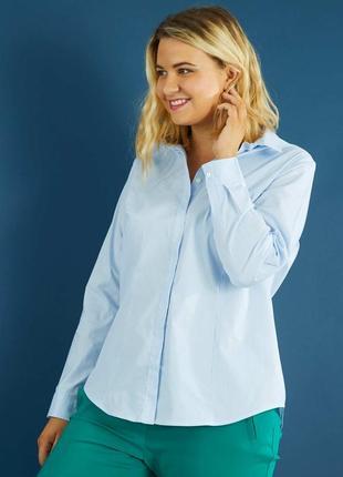 Блуза рубашка в мелкую голубую синюю полоску классическая kiabi l