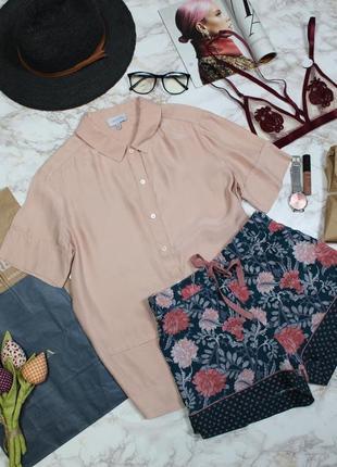 Обнова! блуза рубашка тениска пудра кремово розовая 100% шелк шелковая пижамный стиль