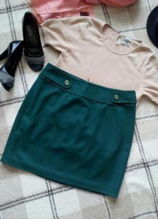 Брендовая шерстяная юбка трапеция на подкладке от esprit