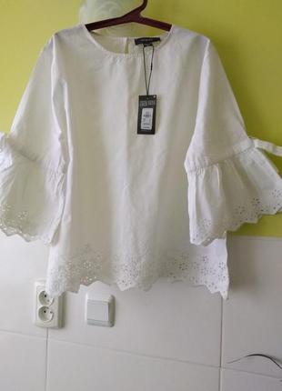 Шикарный белый топ блуза из 100% котона