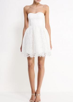 Белое платье befree с открытой спинкой, кружевное, корсет