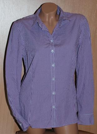 Рубашка бренда montego/ хлопок/  сиренево- белая клетка, приталена/