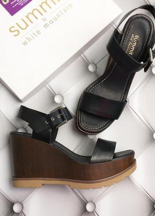 White mountain оригинал черные кожаные босоножки на платформе бренд из сша