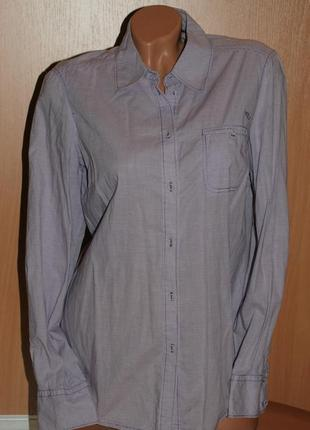 Рубашка бренда esprit / 100%хлопок/  нежно сиреневая клетка/ приталена/