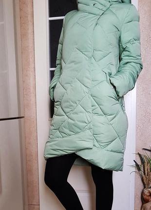 Зимнее пальто синтепон мята