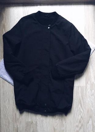 Утепленный удлененный бомбер от new look черный теплый оригинал ellesse kappa