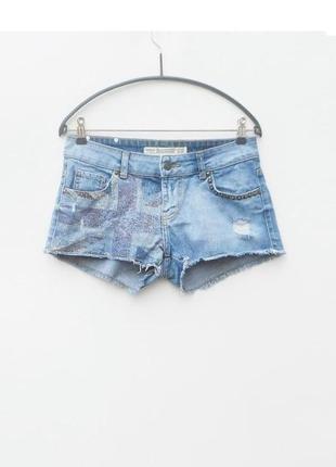 Летние пляжные джинсовые рваные шорты zara