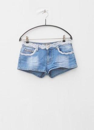 Джинсовые летние пляжные  шорты с кружевом