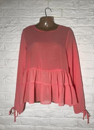 Красивая легкая розовая блуза с длинным рукавом, с воланом р. 16 на m/l (38/40)(46/48)