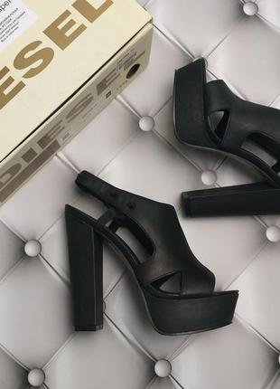 Diesel оригинал кожаные босоножки на платформе и широком каблуке бренд из сша
