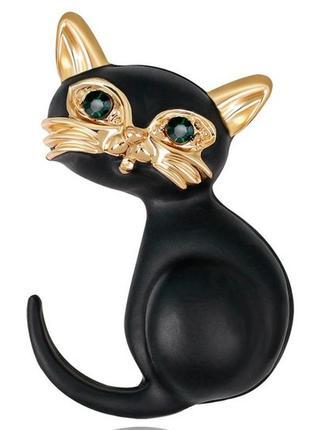Брошь черная кошка со стразами