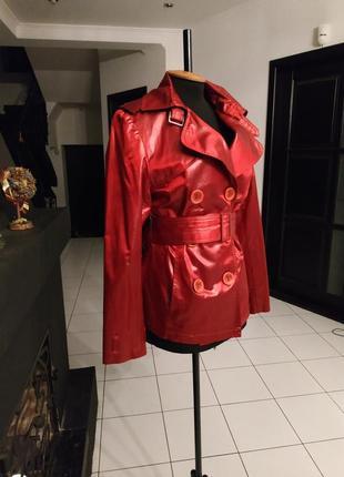 Божественный красный короткий плащ под кожу пиджак куртка