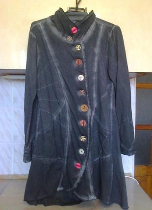 """Фирменая приталеная куртка варенка, супер модная, """"рваный"""" крой, асимет застежка, коттон"""