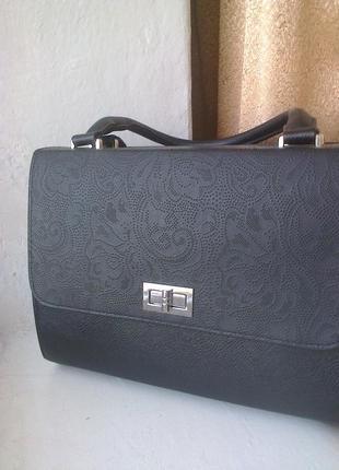 Новая деловая класическая сумка тип бочонок, кожа, польша, ручки короткие и длинная