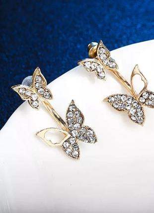 Нежные и изящные серьги джекеты бабочки в камнях