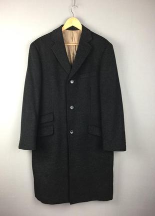 Шикарное шерстяное пальто racing green кашемир шерсть лён мужское черно серое