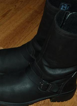 Кожаные зимние сапоги ботинки на шерсти 38р ecco goretex отличное сост