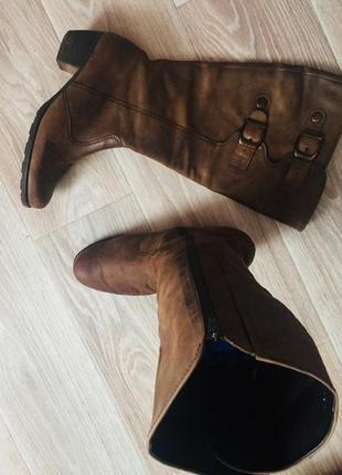 Фирменные осенние сапоги га широкую ногу gabor