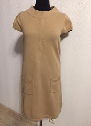 Шерстяное очень теплое платье короткий рукав размер l от немецкого бренда montego