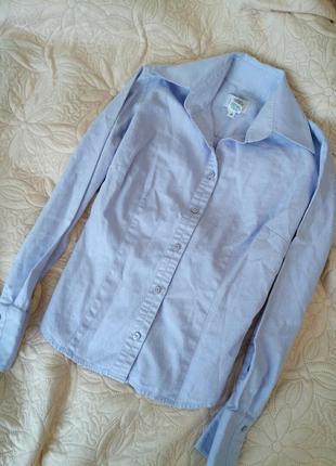 Рубашка блуза фиолетовая натуральная на пуговицах длинный рукав