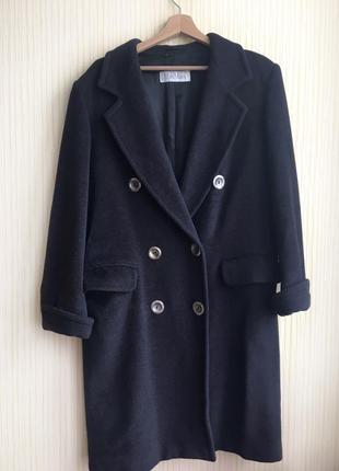 Оригинал max mara двубортное  тёмное серое пальто