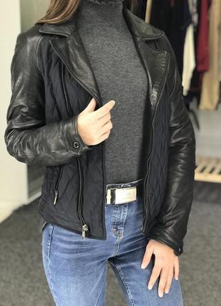 Курточка с кожаными вставками massimo dutti 36
