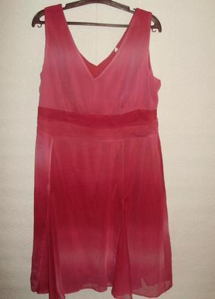 Шифоновое платье с эффектом омбре на подкладке/батал/20/54-56 размера