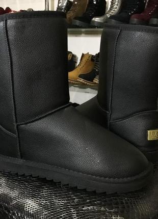 39р,40,41р 42р 43р 44р 45р  угги черные мужские ботинки дутики эко кожаные эко кожа