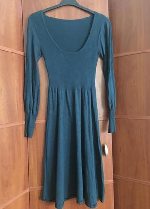 Платье машинная вязка цвета морской волны размер м