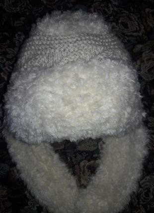 Теплая шапка с ушками, шапка ушанка, вязаная шапка