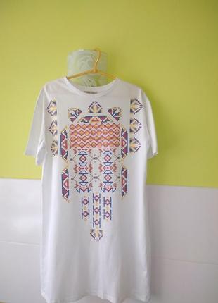 Хлопковое платье футболка с печатным рисунком от zara2 фото