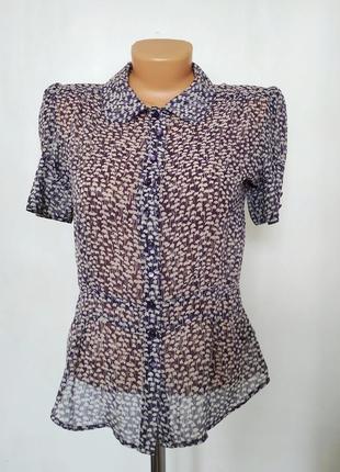 Нежная блуза натуральный шелк принт ландыш ретро