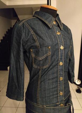 Джинсовое платье рубашка джинс деми вариант зима туника