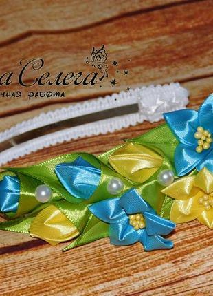 Ободок с цветами цвет голубой