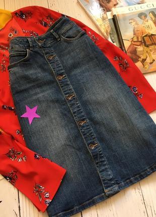 Трендовая джинсовая юбка миди на пуговицах m&s3