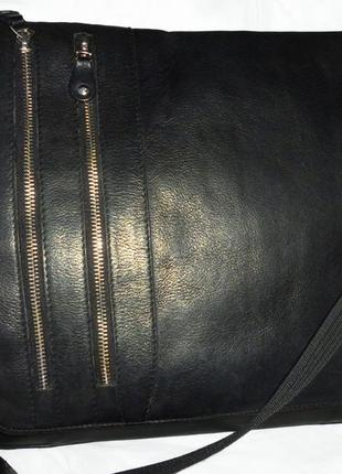 Стильная большая сумка- почтальонка натуральная кожа для мужчин camelo