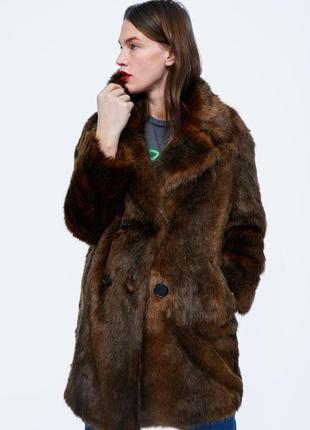 Шуба пальто  zara m теплый искусственный мех