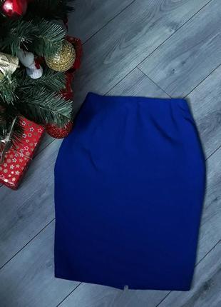 Синяя юбка карандаш с завышенной талией zara