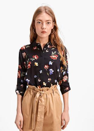 Рубашка блуза с принтом в цветочек от zara