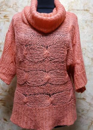 Замечательный ажурный персиковый свитер, размер 48-50