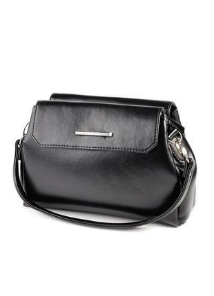 Черная маленькая сумка кроссбоди через плечо гладкая на три отделения