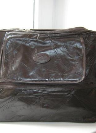 Дорожная сумка cotton traders, 100% натуральная кожа, цвет-темно-коричневый