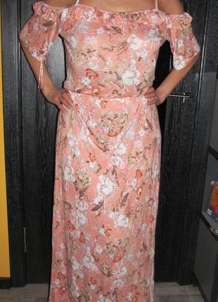 100%вискоза изумительное летнее макси платье от tu р.20