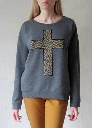 Свитшот с крестом new look оверсайз