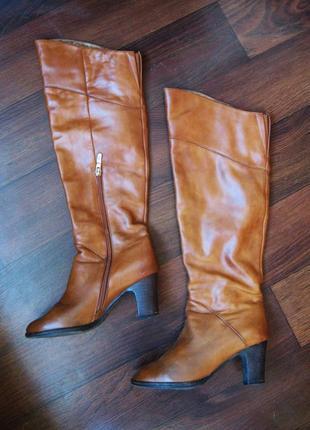 Кожаные высокие сапоги, демисезонные, устойчивый каблук, цвет рыжий, р. 37