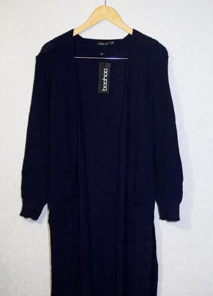 Вязанный кардиган boohoo, темно-синий s-m