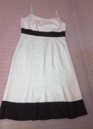 Черно-белый льняной сарафан платье m&s, р.12 (10/14)